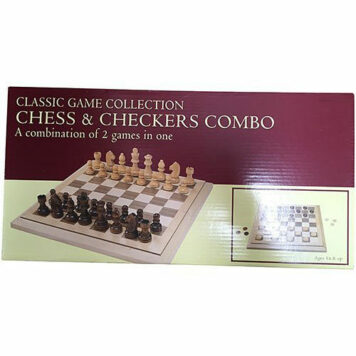 "Folding Wood Chess & Checkers Set, 15"", One Color"