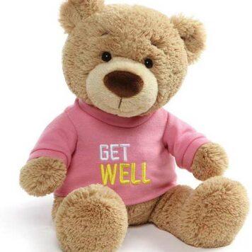 """Get Well Bear Pink, 12.5"""""""