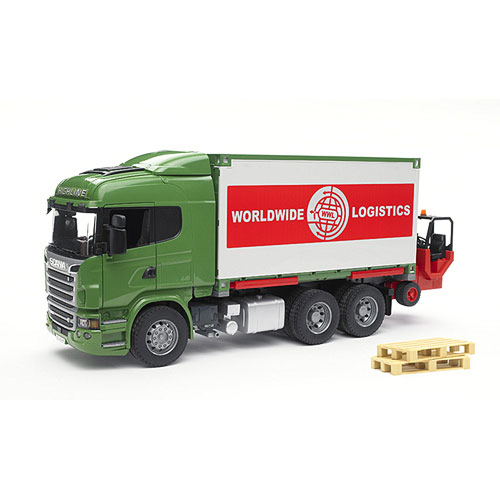 Bruder Scania R-series Cargo Truck With Forklift Attached