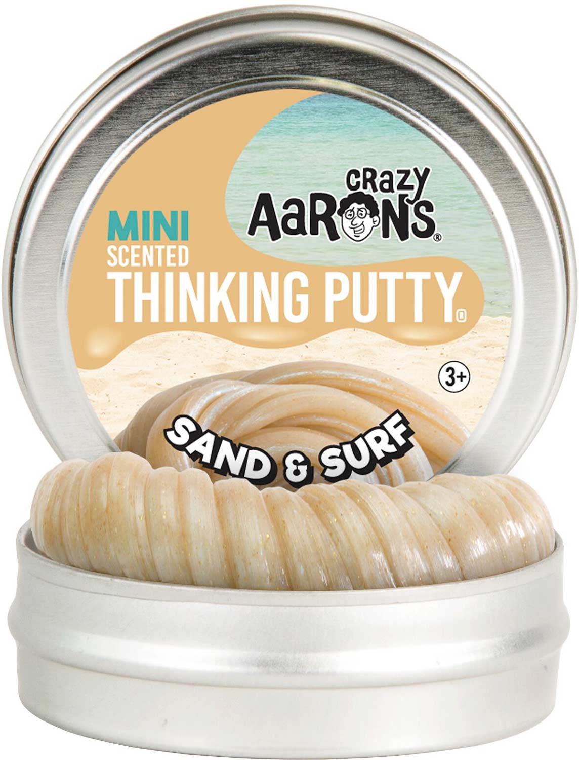 """Crazy Aaron's Sand & Surf Scented Thinking Putty 2"""" Tin"""